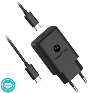 Cargador de pared Motorola TurboPower ™ 27 con cable de datos USB-C a USB-C