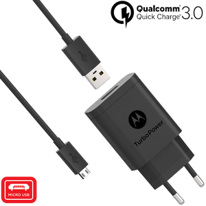 Cargador de pared Motorola TurboPower ™ 18 con cable de datos micro USB